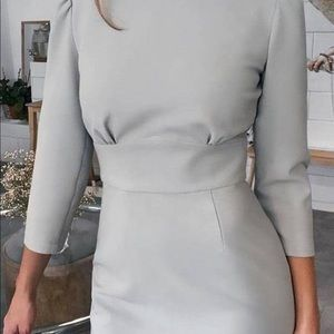 Solid Round Neck Tied Cut Out Back Dress
